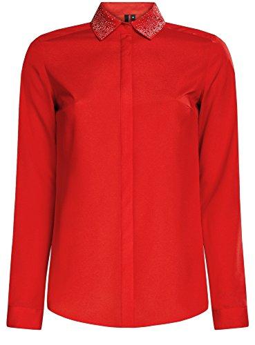 oodji Ultra Damen Bluse mit Deko am Kragen Rot (4500N)