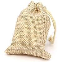 RUBY - 50 Bolsas de arpillera con cordón 9 x 7cm, Bolsitas de Tela, Bolsas Yute para Joyas o regalos (Beige)