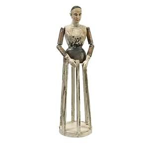 """IMAX """"Emelda"""" sculpté à la main en bois Santos Figure, Métallique, grande"""