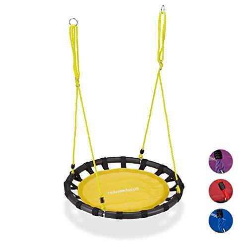 Relaxdays Nestschaukel, runde Hängeschaukel, für Kinder & Erwachsene, verstellbar, draußen, Ø: 80 cm, bis 100 kg, gelb