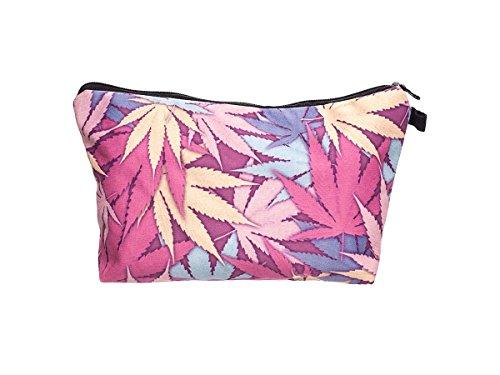 Beauty Case, borsa da viaggio, borsetta da toilette sacco sacchetto bagno per cosmetici trucco make up motivi diversi, Kosmetiktasche KT-002-050:KT-003 marijuana multicolore