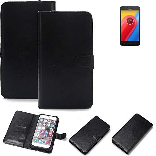 K-S-Trade 360° Wallet Case Handyhülle Lenovo Moto C LTE Schutz Hülle Smartphone Flip Cover Flipstyle Tasche Schutzhülle Flipcover Slim Bumper schwarz, 1x