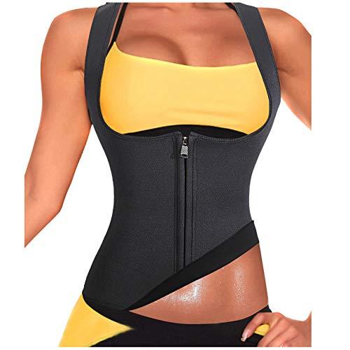 Rolewpy Damen sweat neopren-taillen-trainer hot abnehmen sauna weste bauch-steuer body shaper für weight loss klein (passt wie us 6-10) 01. schwarzer trainingsanzug