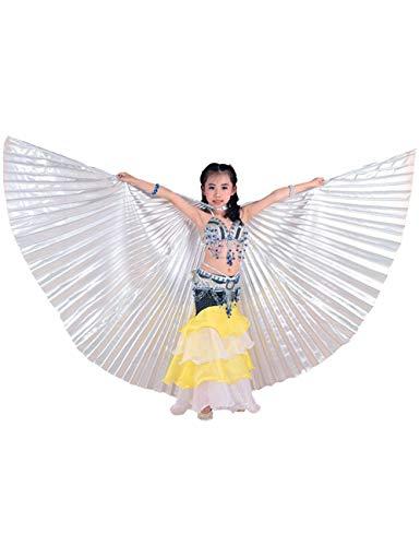 Einfaches Machen Zu Hai Kostüm - besbomig Kinder Mädchen Bauchtänzerin Flügel Einschließlich Teleskopisch Stöcke/Ruten - 360 Degree Ägypten Indian Tanzen Kostüm Flügel Darstellende Zubehör
