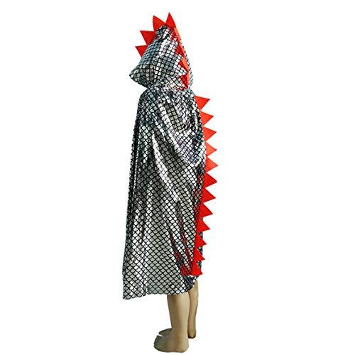 Mantello di halloween spettacolo in maschera per bambini spettacolo strega costume mantello di dinosauro abbronzante mantello di dinosauro halloween - argento