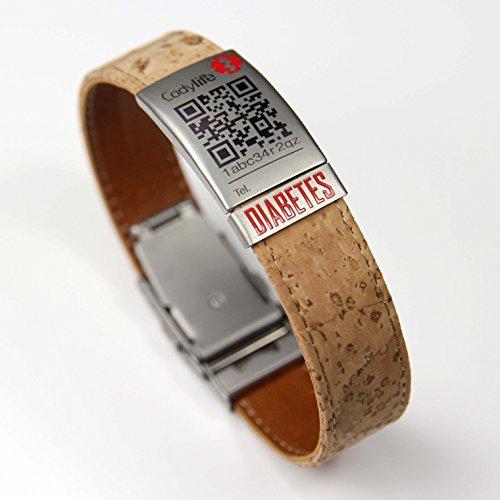 Pulsera identificativa, Codylife Nature placa Diabetes. Brazalete de corcho muy resistente y cierre de seguridad. Con código QR.