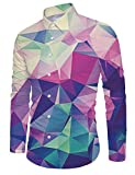 RAISEVERN Young Men Casual Button Down Camicia Colorata Slim Fit a Maniche Lunghe Rainbow Stampato Top