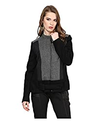 Yepme Piera Full Sleeves Jacket - Black & Grey -- YPMJACKT5149_XS