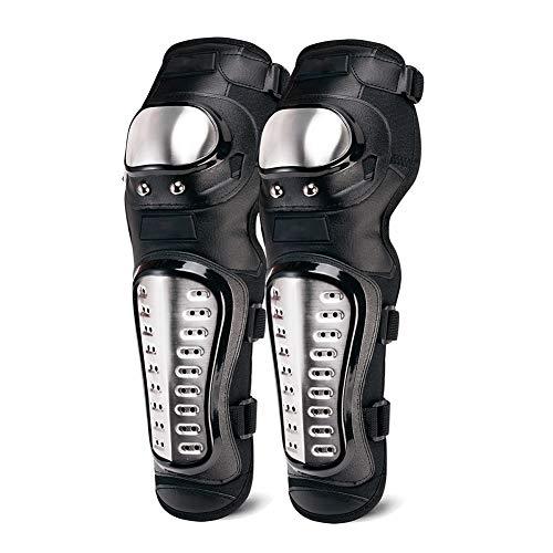 TZTED Knieprotektoren Lange Schienbeinschutz Erwachsene Legierung Stahl Rüstungsschutz Motocross-Rennen Knieschutzpolster Motorrad Offroad-Schutz Getriebe,Schwarz