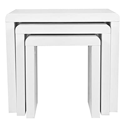 Voilamart Nest of 3 Tables High Gloss Wood Nesting Tables White Coffee Table Multifunctional Living Room Side End Table - cheap UK light shop.