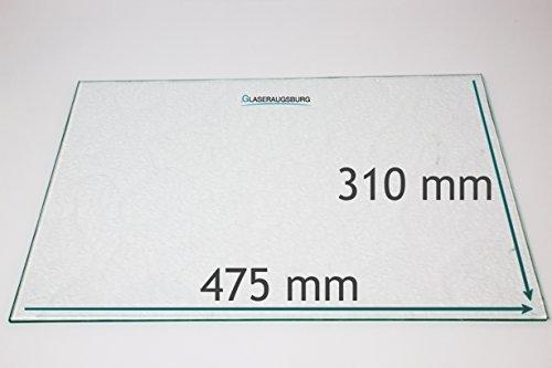 Kühlschrank Einlegeboden/Glasplatte / Gemüsefach – Strukturglas 4 mm dick – 475 mm x 310 mm - Direkt vom Glasereifachbetrieb!!!