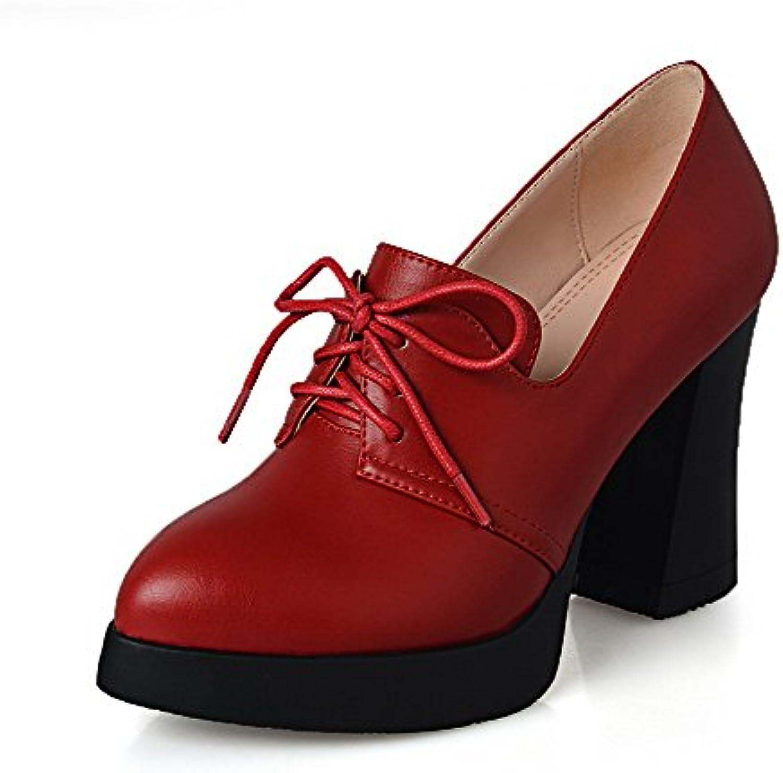 AllhqFashion Mujer Tacón Alto Material Mezclado PU Puntera En Punta Zapatos de Tacón Cordón -