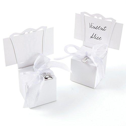 Anladia 50 Stück Kartonagen Geschenkbox Schachtel Klein Weiß mit Tischkartenhalter, Namenskärtchen, Schleifen und Herz Anhänger für Hochzeit, Geburtstag, Taufe, Weihnachten, Partys