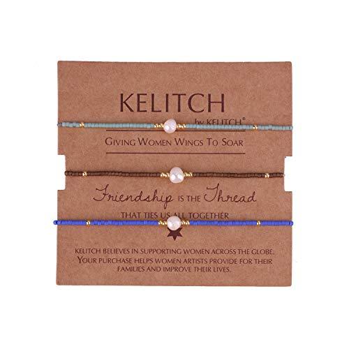 KELITCH Armbänder Damen Herren Japanisch Rocailles Perlen 3 Pcs Freundschaftsarmbänder Shell Perle Einstellbar Handarbeit Paar Armband Armband Frauen Männer (J)