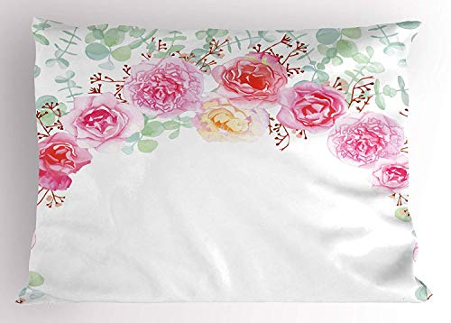 Ejjheadband Shabby Chic Decor Pillow Sham, Floral Wreath in Half Blossoming Romantic Bridal Roses Peonies Feminine, Decorative Standard Queen Size Printed Pillowcase, 30 X 20 inches, Multicolor Cathay Rose