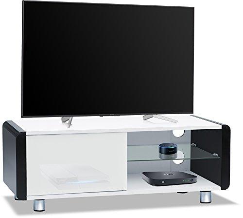 CENTURION Supports Amalfi weiß glänzend beam-thru Fernbedienung Freundlicher 81,3cm-55Flachbild TV-Schrank Schwarz (Schrank Für Flachbild-tv)