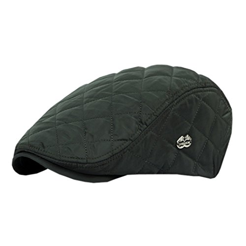 ACVIP Casquette Plate à Carreaux Visière Rétro Hat Réglable pour Adulte Homme Femme Vert