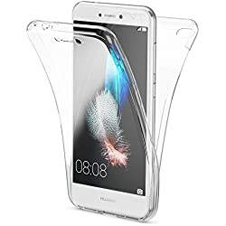 NALIA 360-Degrés Coque Compatible avec Huawei P8 Lite 2017, Protection Tout Round Housse Silicone Full-Cover, Transparent Case Écran Integrale Ultra-Fine Souple Slim Bumper Etui, Couleur:Transparent