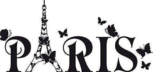 GRAZDesign 690079_30_070 Wandtattoo Paris Eiffelturm Schmetterling | Wand-Deko mit Selbstklebender Folie (63x30cm//070 Schwarz) - Paris-wand-aufkleber