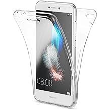 Huawei P8 Lite 2017 Funda Carcasa Protectora 360 Grados de NICA, Movil TPU Silicona Ultra-Fina Transparente, Doble Delantera torno a la protección, Cubierta Goma Bumper Cover Case, Color:Transparente