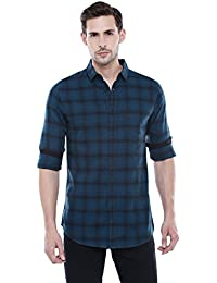 Dennis Lingo Men's Checkered Teal Blue Slim Fit Casual Shirt