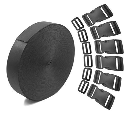 Newzc 5,5m 1rotolo in nylon fettuccia e regolazione 10pairstri-glide clip 6pezzi piatto fibbie a sgancio laterale per 2,5cm di larghezza-diy per zaino bagaglio di cinghie da polso riparazione
