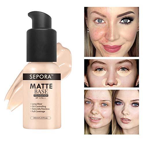 Smooth Concealer Foundation, voll deckend Matte Flawless Foundation Oil Control Feuchtigkeitscreme Concealer Cream für Augenringe, Schönheitsfehler und Flecken -