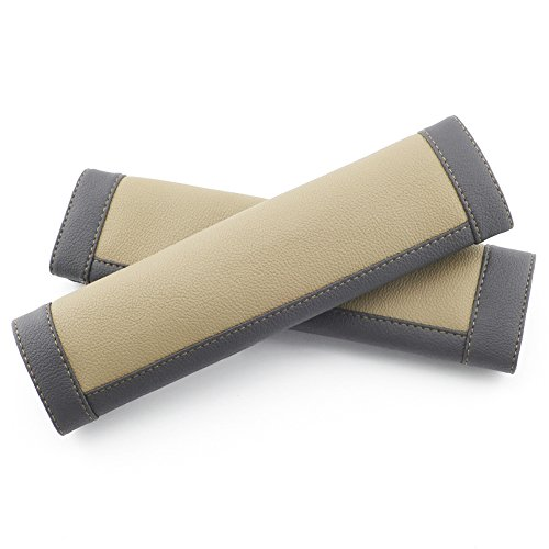 COFIT Black and Beige Seat Belt Pads Pack of 2