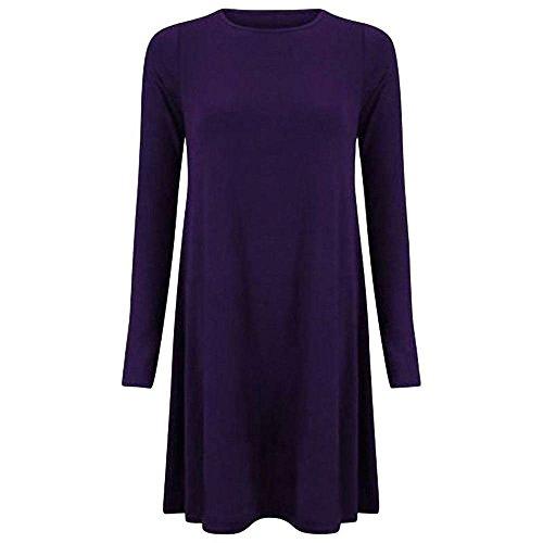 Nuovo da donna tinta unita A maniche lunghe elasticizzato lük Skater A punta Swing vestito Top 8-22 Purple