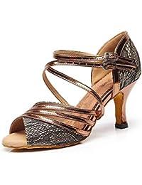 Willsego Moda para Mujer de Tiras de Bronce sintético de tacón Alto Zapatos de Baile Latino Sandalias de Boda UK…