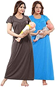 Be You Multicolored Cotton Women Maternity Nighty for Feeding (Pack of 2) - Free Size
