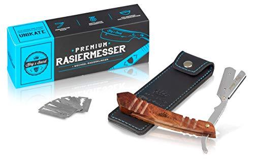 King\'s Beard Premium Rasiermesser + Wechsel-Rasierklingen, Bart Rasierer Mit Tradition | Der Klingen Rasierer | Straight Razor (Naturholz indisch)
