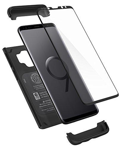 Spigen 592CS22872 Thin Fit 360 für Samsung Galaxy S9 Hülle, 360° Rundumschutz-Schale mit Gratis Panzerglas Handyhülle Schutzhülle Case Schwarz