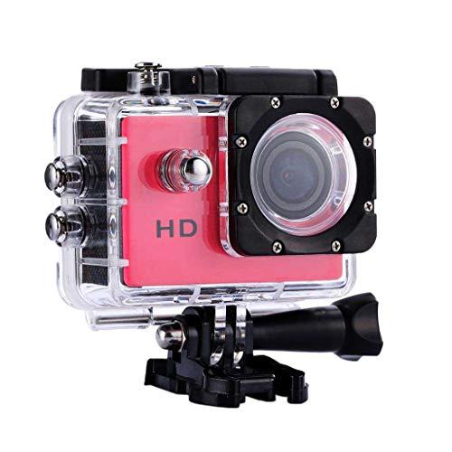H HILABEE Action Cam 1080p HD Unterwasser Kamera Weitwinkel Helmkamera Wasserdicht mit Zubehör Kit für Outdoor Sport - Rose Rot