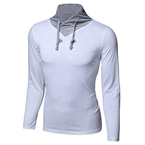 BOMOVO Herren Langarm T-Shirt Langarm Longsleeve Shirt Slim Fit Weiß