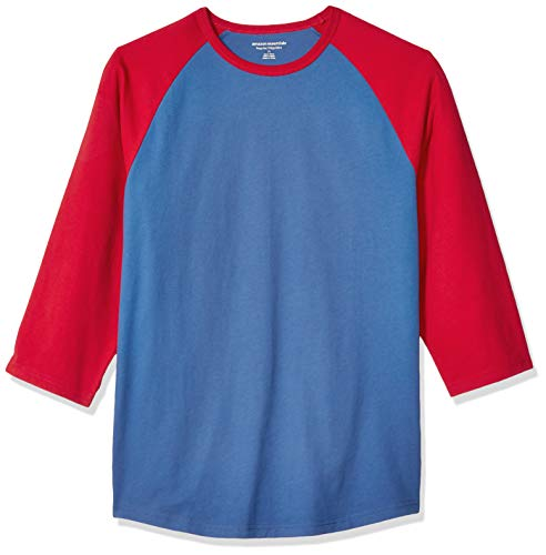 Amazon Essentials Regular-Fit 3/4 Sleeve Baseball novelty-t-shirts, Blue/Red, US L (EU L) -