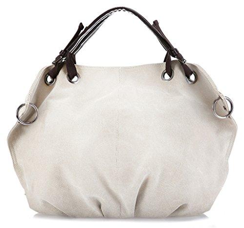 ERGEOB Damen Canvas Schultertasche groß Handtaschen schwarz 04 weiß