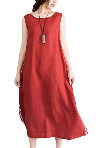 Damen Ärmellose Weste The Split Midi Partei Kleid Orange