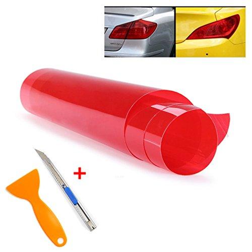 QEUhang 2 PCS Scheinwerfer Folie Tönungsfolie Aufkleber 120cm x 30cm für Auto Scheinwerfer Rückleuchten Blinker Nebelscheinwerfer (Rot)