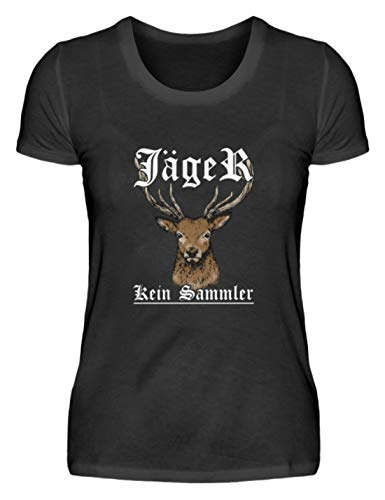 EBENBLATT Jäger kein Sammler Hirsch Jagen Jagd Geschenk - Damenshirt -M-Schwarz -
