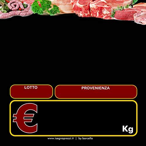 10 CARTELLINI NEUTRI PVC 700 MY MOD C MACELLERIA FORMATO 14,5X14,5