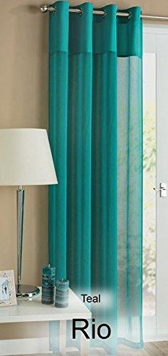 teal-blu-tinta-unita-top-rio-lino-style-anello-superiore-tenda-a-pannello-in-voile-con-asole-55-x-72