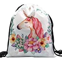 Formemory Unicorn Pattern Drawstring Backpack School Shoulder Travel Backpack PE Gym Bag for Teenager Boys Girls Women