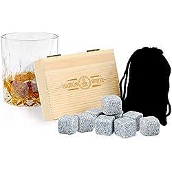 Ensemble de 9 pierres à whisky | Accessoires à boire | Boire des blocs de refroidissement | Whisky Glacière | Coffret Cadeau Inclus | Cadeaux pour hommes | M & W