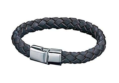 Fred Bennett Herren Armband Edelstahl Leder 23 cm braun B4419 (Männerschmuck Armband)