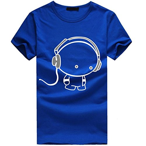 T-shirt sport baseball maglietta istruttore palestra basket fitness maglia,yanhoo® new men boy cotone tee shirt manica corta auricolare t-shirt vestiti (l, blu)