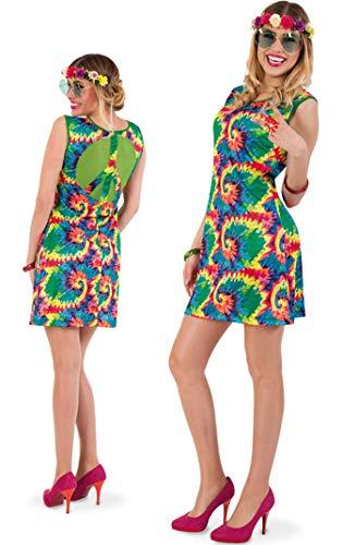 KarnevalsTeufel Kostüm-Set Hippie für Erwachsene, 4-teilig Kleid, Blumen-Haarband, Blumen-Ring und Hippie-Brille, 60er Jahre, Peace, Flower - Power | Karneval, Mottoparty (38)