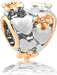 9199de275 Pugster Filigree Heart Golden Dragonfly Charm Bead Will Fit Pandora Troll  Chamilia Style Bracelets