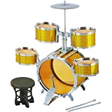 IndusBay Big Size Musical Jazz Drum Set For Kids Instrument Drum Toy Play Set With 5 Drums, Cymbal & Chair For Kids - Golden