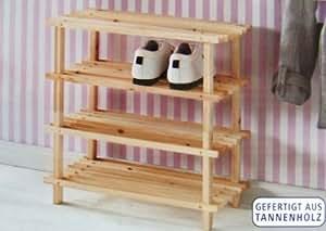 Holz Schuhregal mit 4 Böden